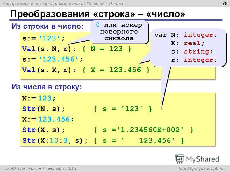 Алгоритмизация и программирование, Паскаль, 10 класс К.Ю. Поляков, Е.А. Ерёмин, 2013 http://kpolyakov.spb.ru Преобразования «строка» – «число» 78 Из строки в число: s:= '123'; Val(s, N, r); { N = 123 } s:= '123.456'; Val(s, X, r); { X = 123.456 } s:=