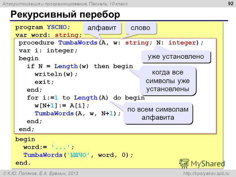 Алгоритмизация и программирование, Паскаль, 10 класс К.Ю. Поляков, Е.А. Ерёмин, 2013 http://kpolyakov.spb.ru Рекурсивный перебор 92 program YSCHO; var word: string; begin word:= '...'; TumbaWords('ЫШЧО', word, 0); end. program YSCHO; var word: string