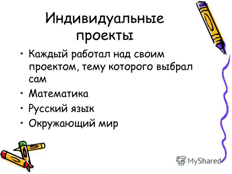 Индивидуальные проекты Каждый работал над своим проектом, тему которого выбрал сам Математика Русский язык Окружающий мир