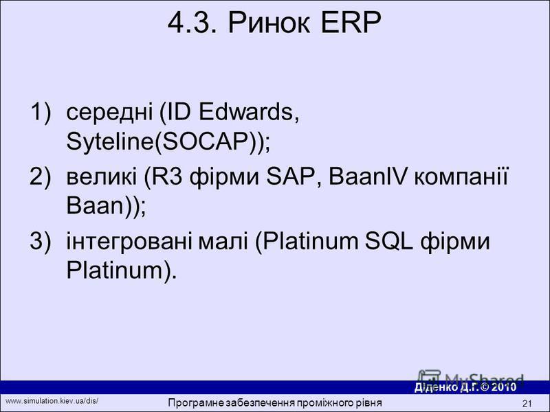 Діденко Д.Г. © 2010 www.simulation.kiev.ua/dis/ Програмне забезпечення проміжного рівня 21 1)середнi (ID Edwards, Syteline(SOCAP)); 2)великi (R3 фiрми SAP, BaanlV компанiї Baan)); 3)iнтегрованi малi (Platinum SQL фiрми Platinum). 4.3. Ринок ERP