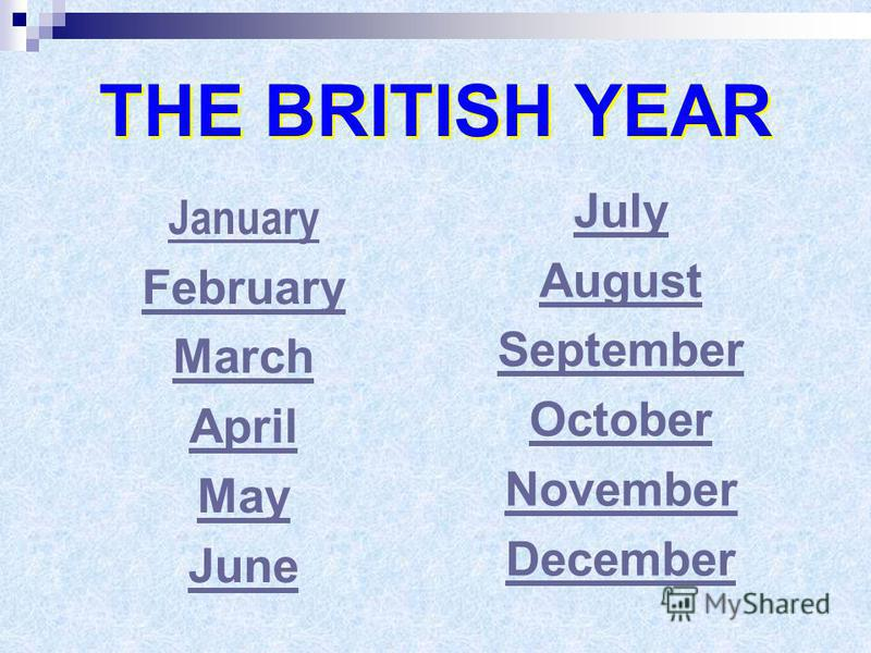 THE BRITISH YEAR January February March April May June July August September October November December