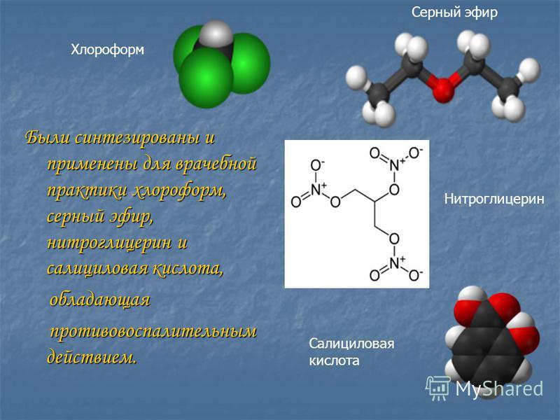 Были синтезированы и применены для врачебной практики хлороформ, серный эфир, нитроглицерин и салициловая кислота, обладающая обладающая противовоспалительным действием. противовоспалительным действием. Хлороформ Серный эфир Нитроглицерин Салициловая