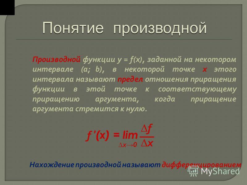 Производной функции у = f(x), заданной на некотором интервале (a; b), в некоторой точке х этого интервала называют предел отношения приращения функции в этой точке к соответствующему приращению аргумента, когда приращение аргумента стремится к нулю.