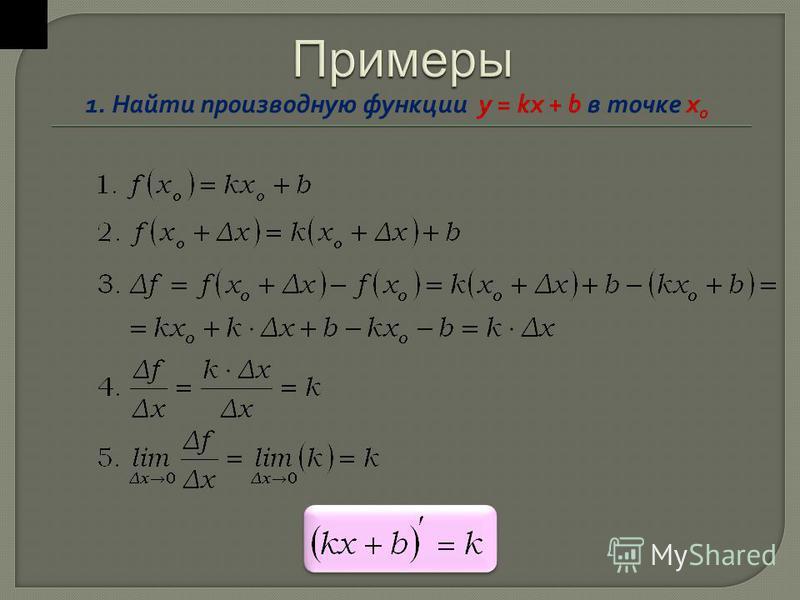1. Найти производную функции y = kx + b в точке х o