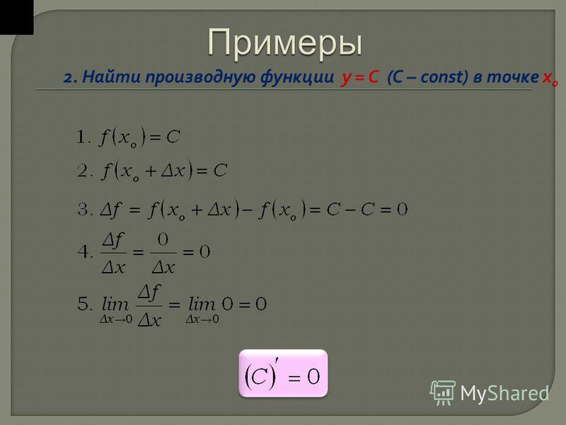 2. Найти производную функции y = C (C – const) в точке х o
