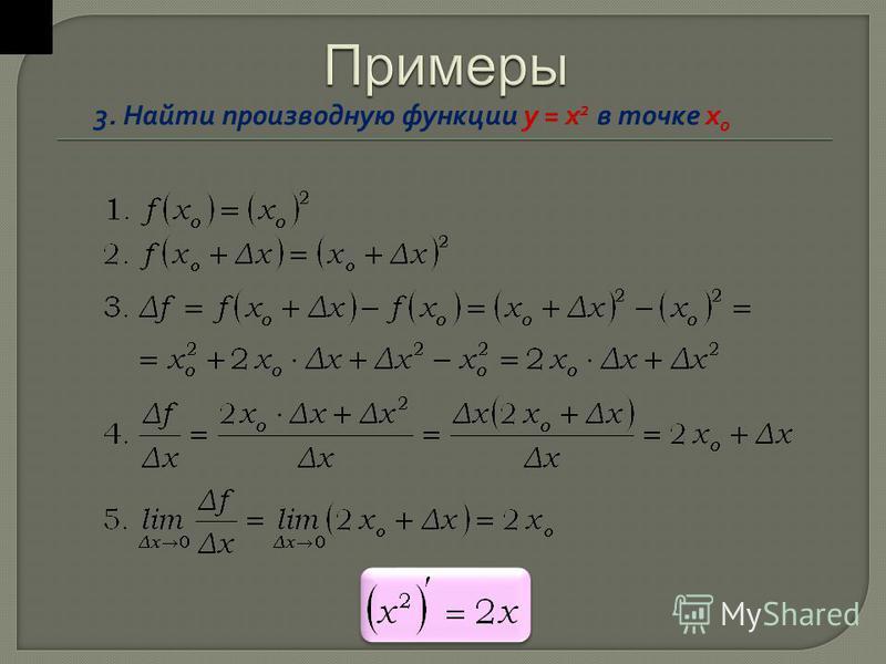 3. Найти производную функции y = x 2 в точке х o