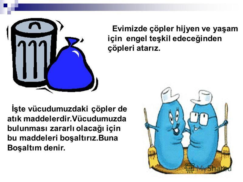 Evimizde çöpler hijyen ve yaşam için engel teşkil edeceğinden çöpleri atarız. İşte vücudumuzdaki çöpler de atık maddelerdir.Vücudumuzda bulunması zararlı olacağı için bu maddeleri boşaltırız.Buna Boşaltım denir.
