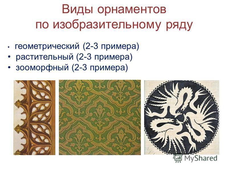 Виды орнаментов по изобразительному ряду геометрический (2-3 примера) растительный (2-3 примера) зооморфный (2-3 примера)
