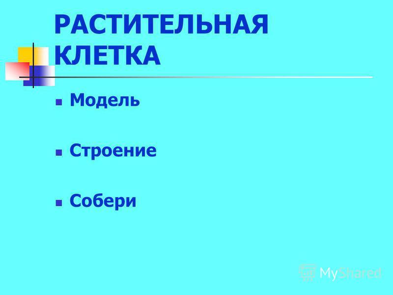 РАСТИТЕЛЬНАЯ КЛЕТКА Модель Строение Собери