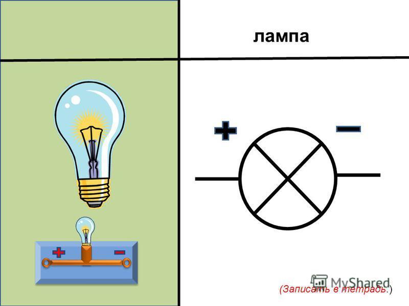 лампа (Записать в тетрадь.)