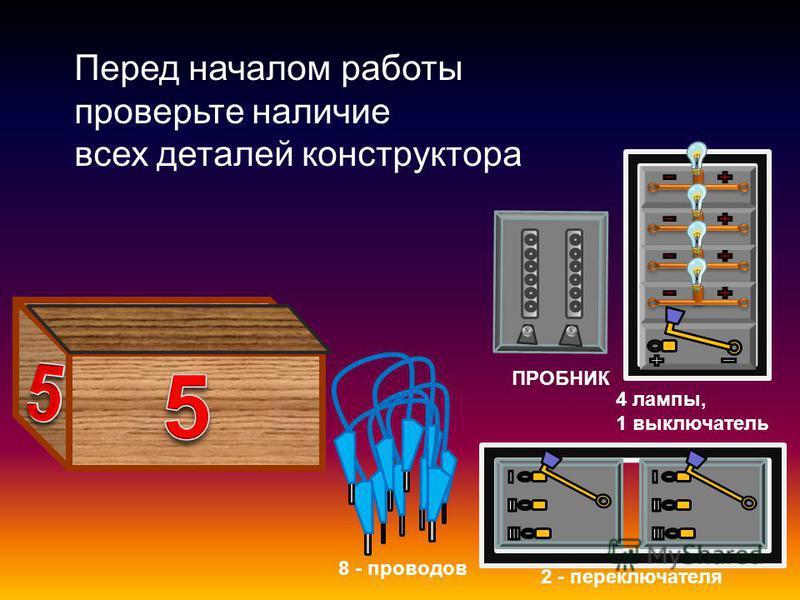 ПРОБНИК 2 - переключателя 8 - проводов 4 лампы, 1 выключатель Перед началом работы проверьте наличие всех деталей конструктора