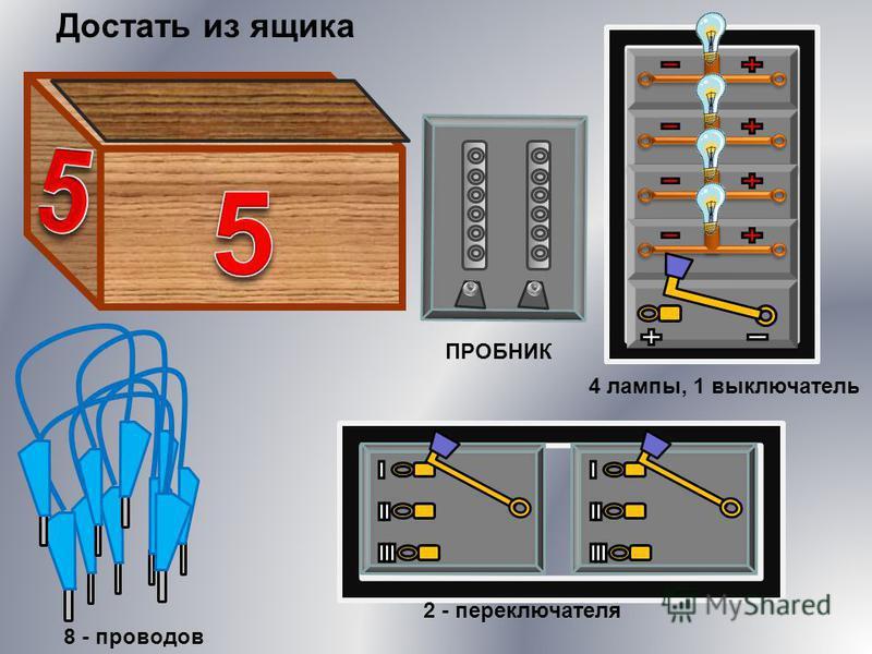 ПРОБНИК 2 - переключателя 8 - проводов 4 лампы, 1 выключатель Достать из ящика