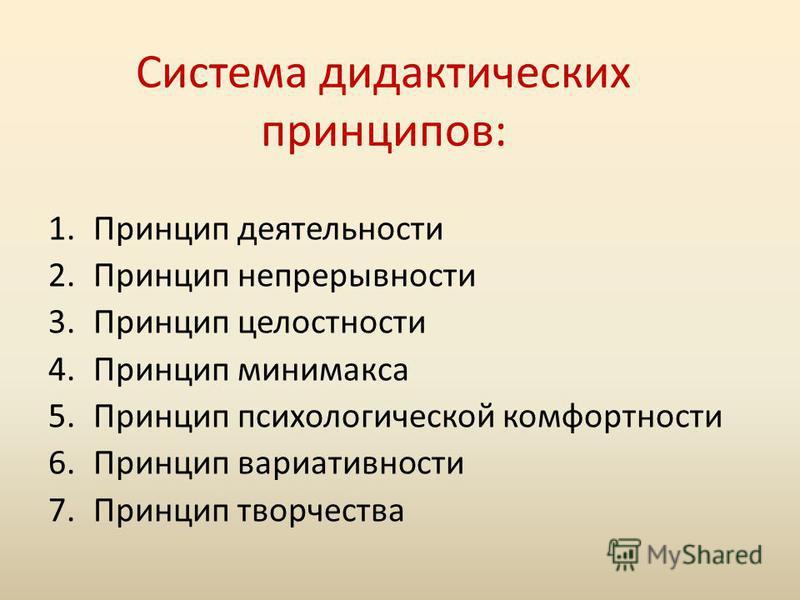Система дидактических принципов: 1. Принцип деятельности 2. Принцип непрерывности 3. Принцип целостности 4. Принцип минимакса 5. Принцип психологической комфортности 6. Принцип вариативности 7. Принцип творчества