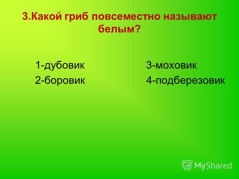 3. Какой гриб повсеместно называют белым? 1-дубовик 3-моховик 2-боровик 4-подберезовик