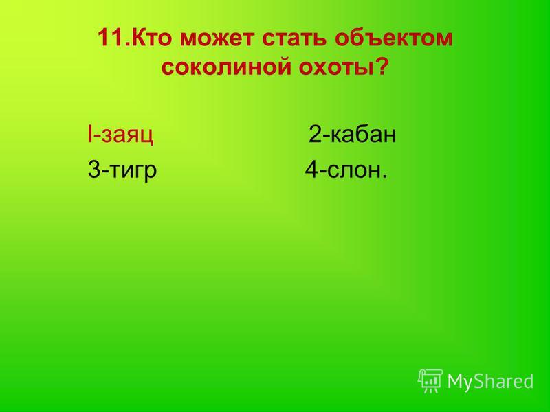 11. Кто может стать объектом соколиной охоты? l-заяц 2-кабан 3-тигр 4-слон.
