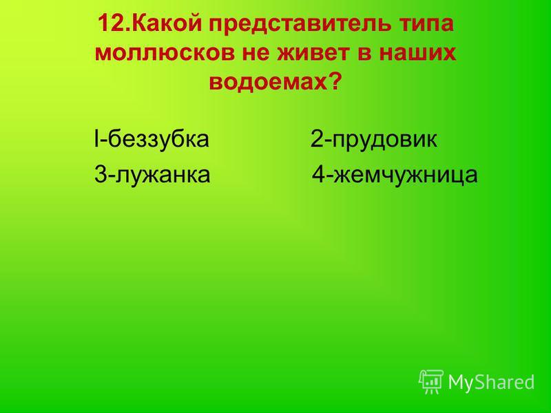 12. Какой представитель типа моллюсков не живет в наших водоемах? l-беззубка 2-прудовик 3-лужанка 4-жемчужница
