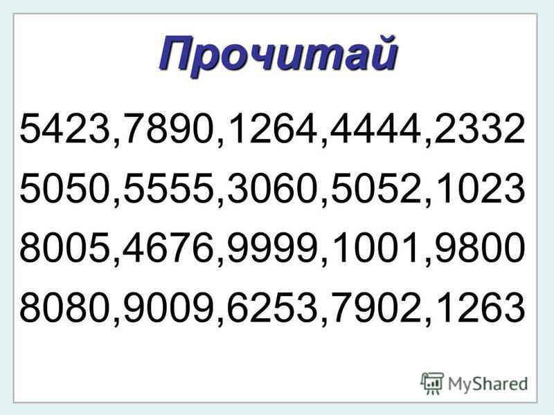 Прочитай 5423,7890,1264,4444,2332 5050,5555,3060,5052,1023 8005,4676,9999,1001,9800 8080,9009,6253,7902,1263