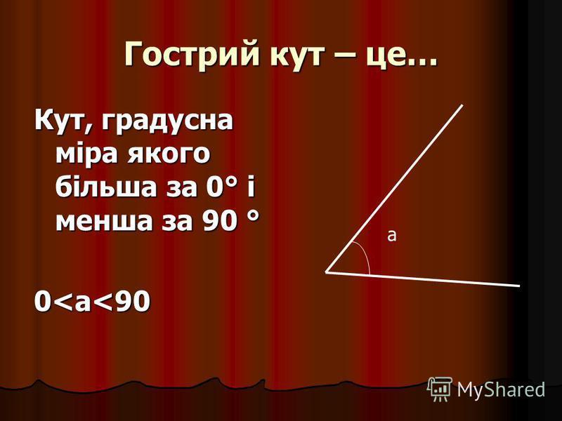 Гострий кут – це… Кут, градусна міра якого більша за 0° і менша за 90 ° 0<а<90 a