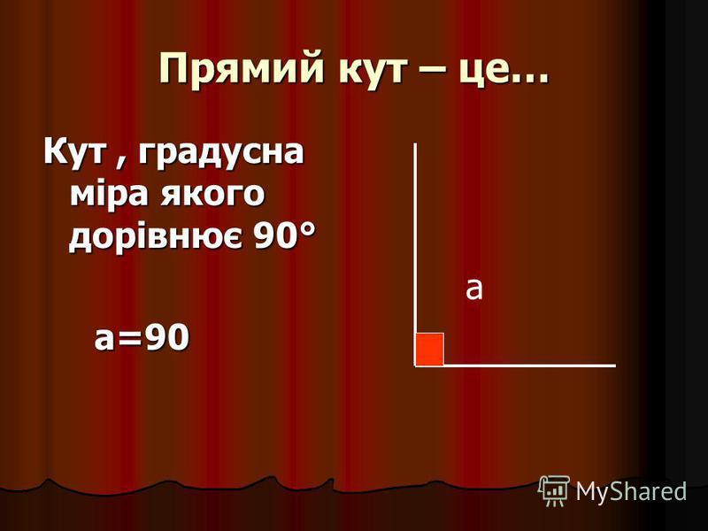 Прямий кут – це… Кут, градусна міра якого дорівнює 90° а=90 а=90 а