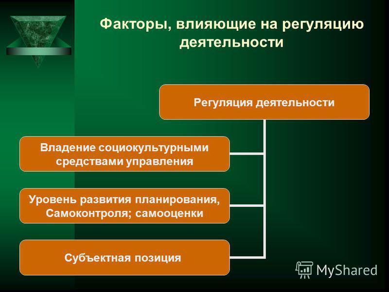 Факторы, влияющие на регуляцию деятельности Регуляция деятельности Владение социокультурными средствами управления Уровень развития планирования, Самоконтроля; самооценки Субъектная позиция