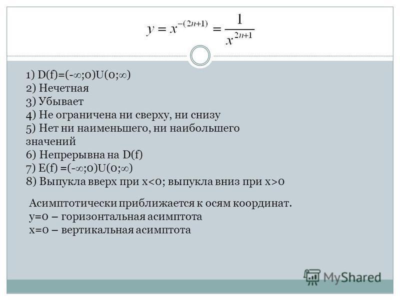 1) D(f)=(- ;0) U (0; ) 2) Нечетная 3) Убывает 4) Не ограничена ни сверху, ни снизу 5) Нет ни наименьшего, ни наибольшего значений 6) Непрерывна на D(f) 7) E(f) =(- ;0) U (0; ) 8) Выпукла вверх при x 0 Асимптотически приближается к осям координат. y=0