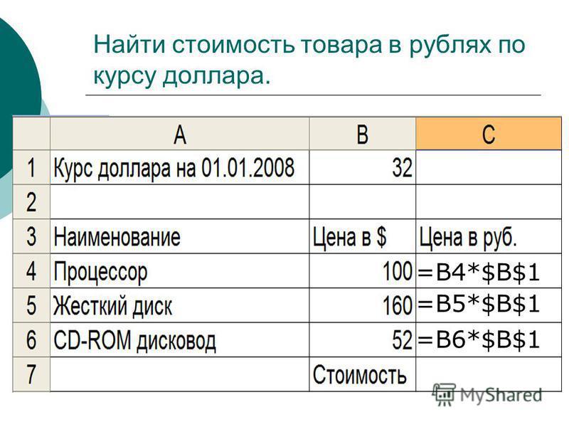 Найти стоимость товара в рублях по курсу доллара. =В4*$B$1 =В5*$B$1 =В6*$B$1