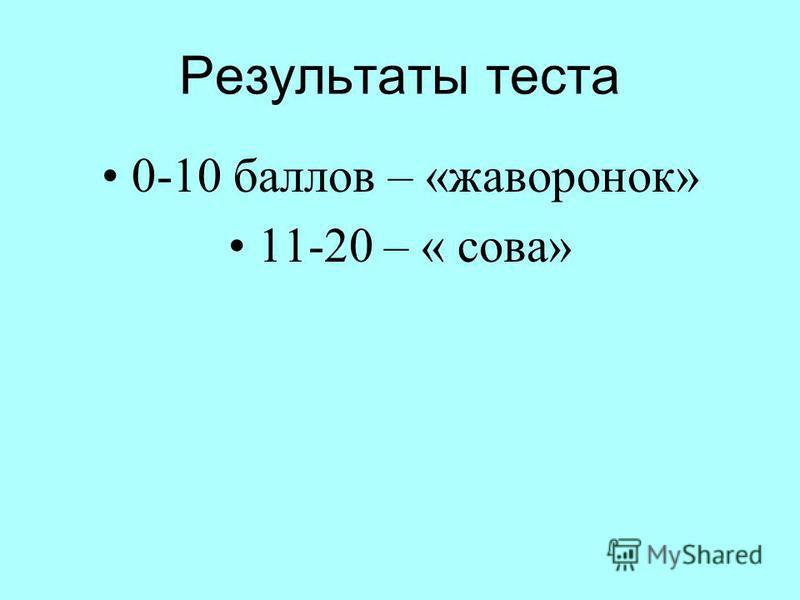 Результаты теста 0-10 баллов – «жаворонок» 11-20 – « сова»