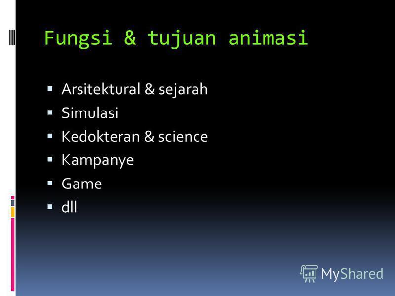 Fungsi & tujuan animasi Arsitektural & sejarah Simulasi Kedokteran & science Kampanye Game dll