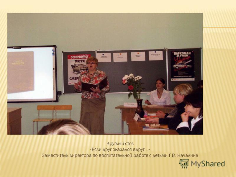 Круглый стол «Если друг оказался вдруг…» Заместитель директора по воспитательной работе с детьми Г.В. Качалина