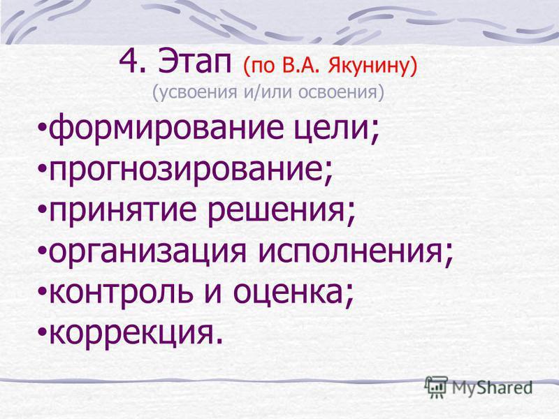 4. Этап (по В.А. Якунину) (усвоения и/или освоения) формирование цели; прогнозирование; принятие решения; организация исполнения; контроль и оценка; коррекция.