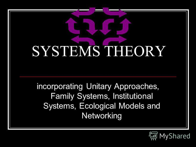 SYSTEMS THEORY incorporating Unitary Approaches, Family Systems, Institutional Systems, Ecological Models and Networking