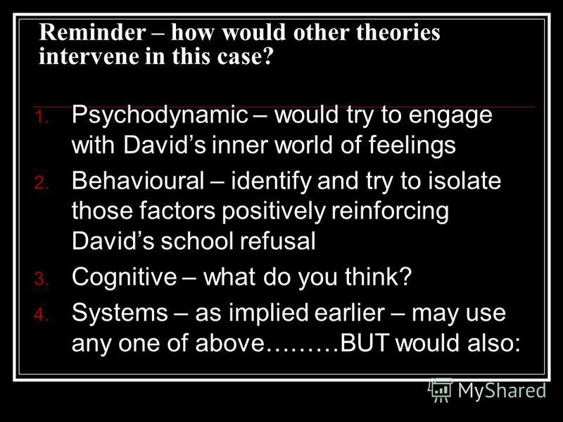 Reminder – how would other theories intervene in this case? 1. Psychodynamic – would try to engage with Davids inner world of feelings 2. Behavioural – identify and try to isolate those factors positively reinforcing Davids school refusal 3. Cognitiv