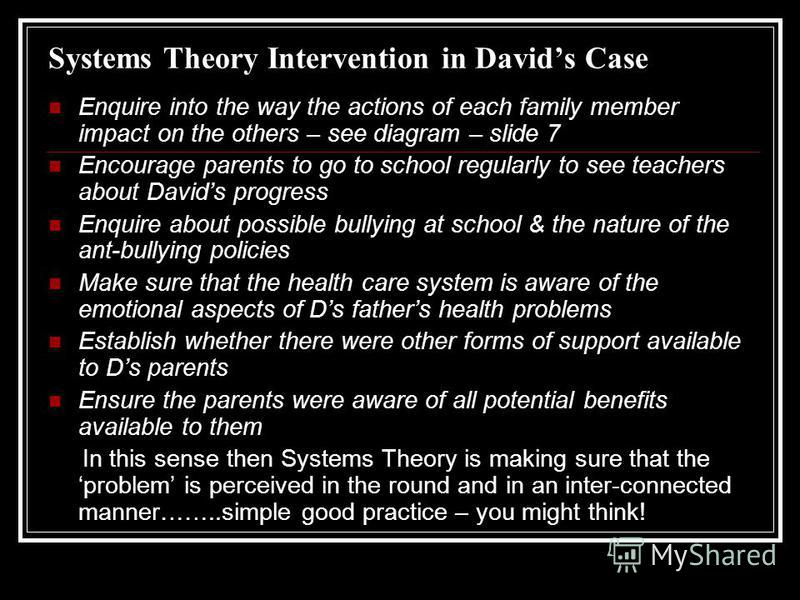 family systems intervention Family systems interventions intervention skills: facilitating family change change skills 1 break maladaptive interaction patterns 2 clarity problematic consequences.