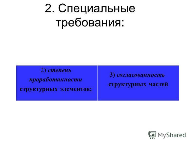 2. Специальные требования: 2) степень проработанности структурных элементов; 3) согласованность структурных частей