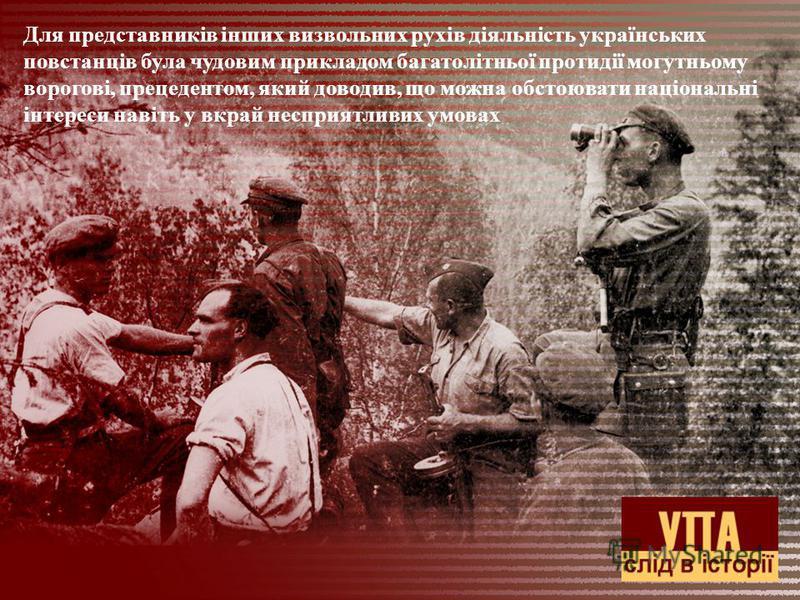 Для представників інших визвольних рухів діяльність українських повстанців була чудовим прикладом багатолітньої протидії могутньому ворогові, прецедентом, який доводив, що можна обстоювати національні інтереси навіть у вкрай несприятливих умовах