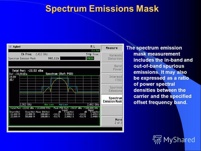 Spectrum Emissions Mask The spectrum emission mask measurement includes the in-band and out-of-band spurious emissions. It may also be expressed as a ratio of power spectral densities between the carrier and the specified offset frequency band.