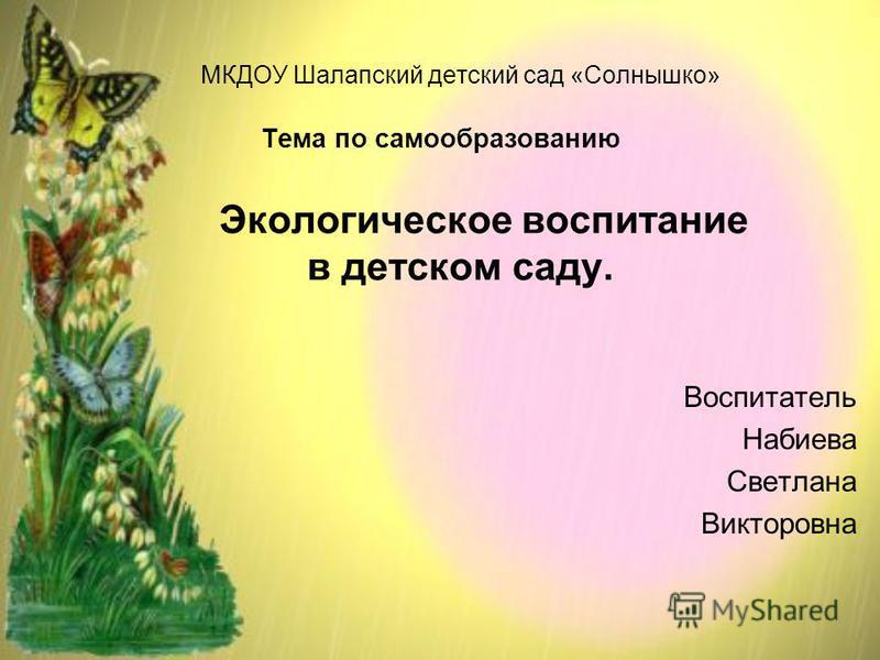 Воспитатель Набиева Светлана Викторовна МКДОУ Шалапский детский сад «Солнышко» Тема по самообразованию Экологическое воспитание в детском саду.