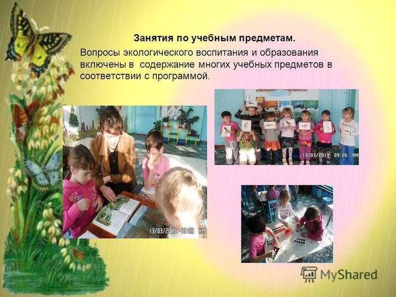 Занятия по учебным предметам. Вопросы экологического воспитания и образования включены в содержание многих учебных предметов в соответствии с программой.