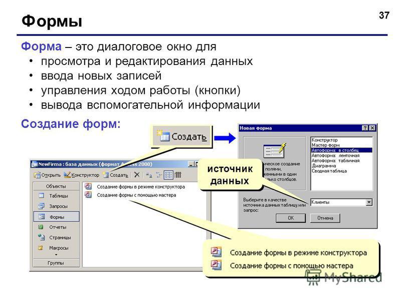 37 Формы Форма – это диалоговое окно для просмотра и редактирования данных ввода новых записей управления ходом работы (кнопки) вывода вспомогательной информации Создание форм: источник данных