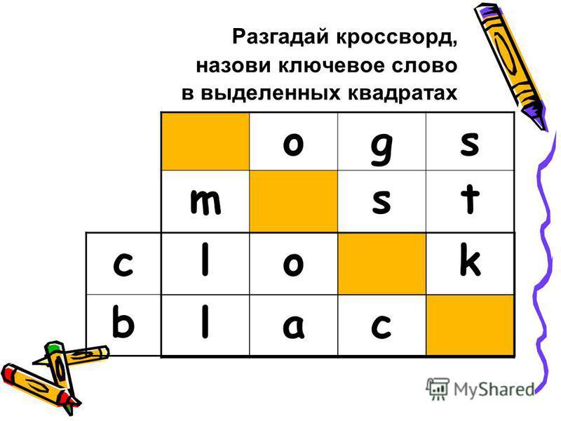 Разгадай кроссворд, назови ключевое слово в выделенных квадратах ogs mst lok lac c b