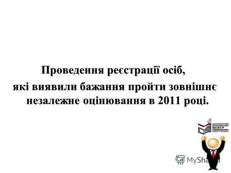 Проведення реєстрації осіб, які виявили бажання пройти зовнішнє незалежне оцінювання в 2011 році. які виявили бажання пройти зовнішнє незалежне оцінювання в 2011 році.