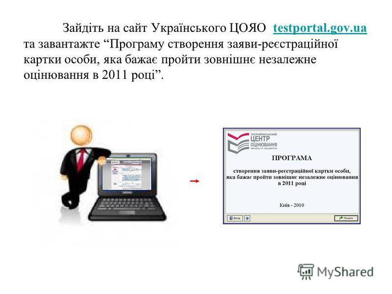 Зайдіть на сайт Українського ЦОЯО testportal.gov.uatestportal.gov.ua та завантажте Програму створення заяви-реєстраційної картки особи, яка бажає пройти зовнішнє незалежне оцінювання в 2011 році.