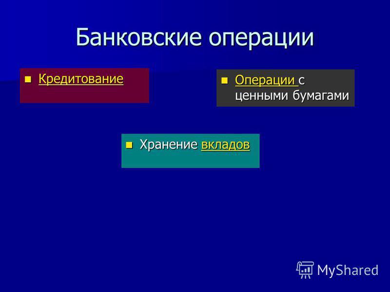 Банковские операции Кредитование Кредитование Кредитование Хранение вкладов Хранение вкладов Операции с ценными бумагами Операции с ценными бумагами Операции