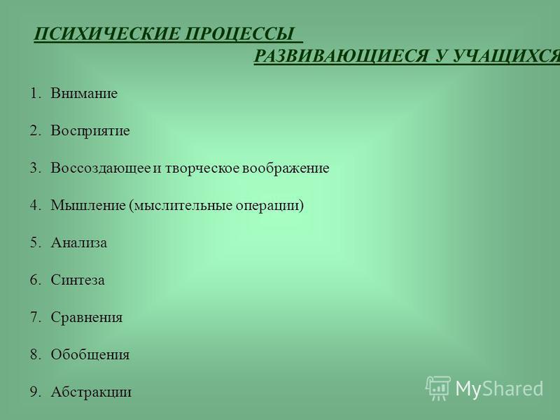 ПСИХИЧЕСКИЕ ПРОЦЕССЫ РАЗВИВАЮЩИЕСЯ У УЧАЩИХСЯ 1. Внимание 2. Восприятие 3. Воссоздающее и творческое воображение 4. Мышление (мыслительные операции) 5. Анализа 6. Синтеза 7. Сравнения 8. Обобщения 9.Абстракции