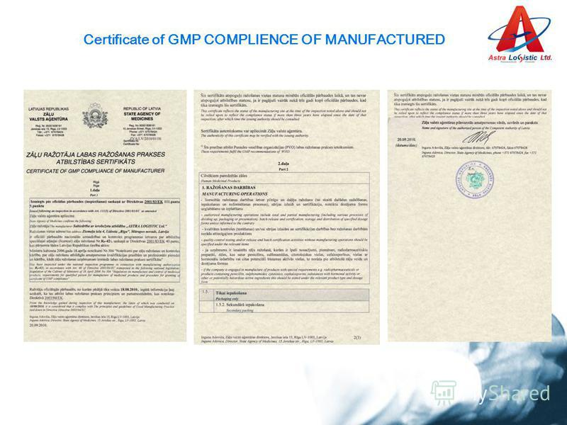 Certificate of GMP COMPLIENCE OF MANUFACTURED
