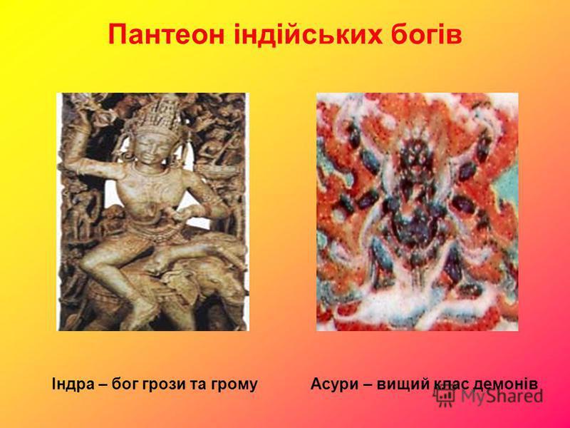 Пантеон індійських богів Індра – бог грози та громуАсури – вищий клас демонів