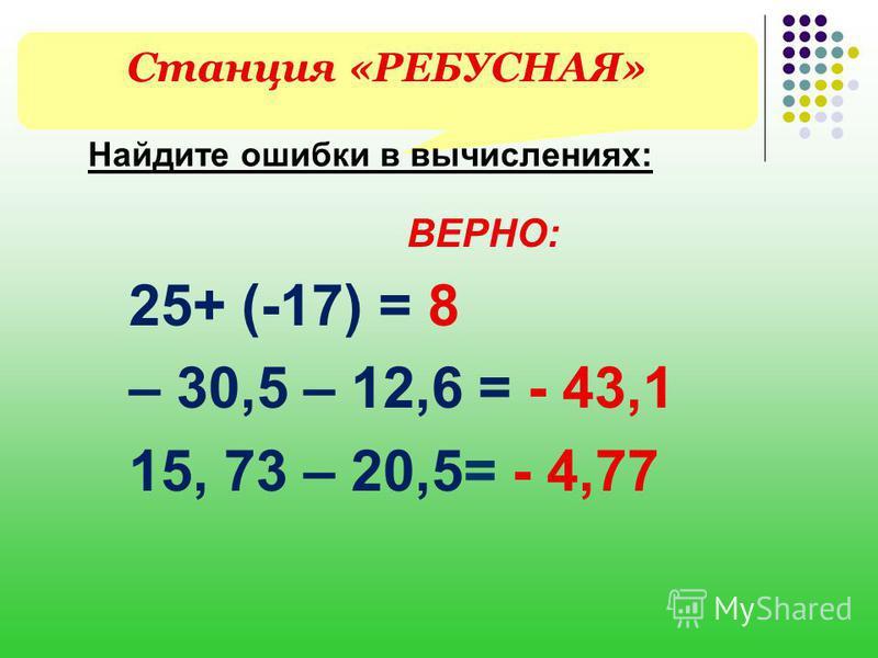 Станция «РЕБУСНАЯ» Найдите ошибки в вычислениях: ВЕРНО: 25+ (-17) = 8 – 30,5 – 12,6 = - 43,1 15, 73 – 20,5= - 4,77