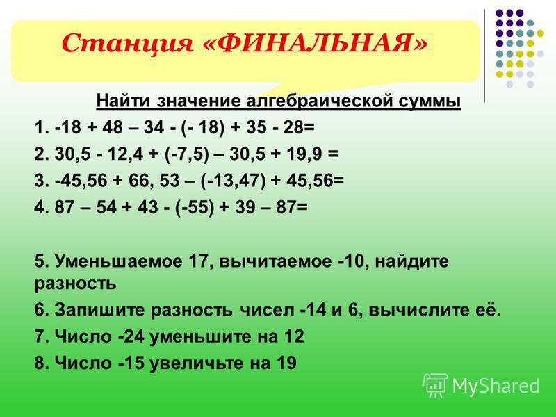 Станция «ФИНАЛЬНАЯ» Найти значение алгебраической суммы 1. -18 + 48 – 34 - (- 18) + 35 - 28= 2. 30,5 - 12,4 + (-7,5) – 30,5 + 19,9 = 3. -45,56 + 66, 53 – (-13,47) + 45,56= 4. 87 – 54 + 43 - (-55) + 39 – 87= 5. Уменьшаемое 17, вычитаемое -10, найдите