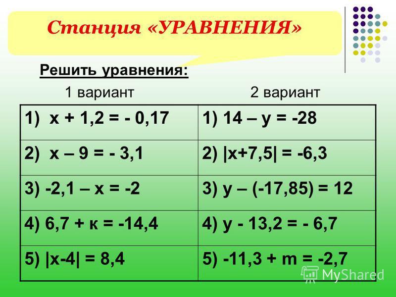 Станция «УРАВНЕНИЯ» Решить уравнения: 1 вариант 2 вариант 1) х + 1,2 = - 0,171) 14 – y = -28 2) х – 9 = - 3,12) |x+7,5| = -6,3 3) -2,1 – х = -23) y – (-17,85) = 12 4) 6,7 + к = -14,44) y - 13,2 = - 6,7 5) |x-4| = 8,45) -11,3 + m = -2,7