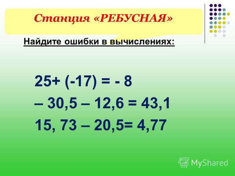 Станция «РЕБУСНАЯ» Найдите ошибки в вычислениях: 25+ (-17) = - 8 – 30,5 – 12,6 = 43,1 15, 73 – 20,5= 4,77